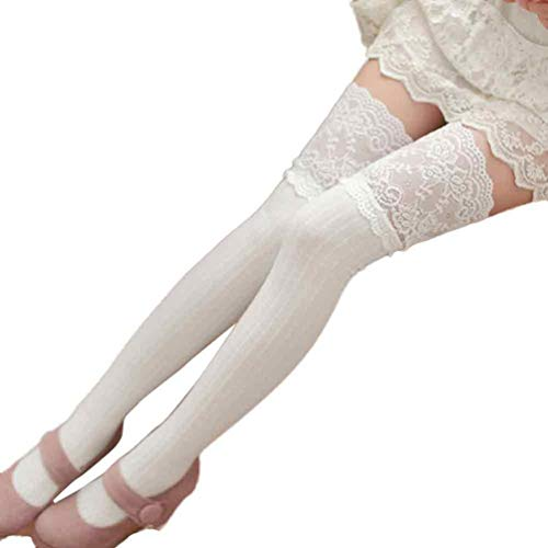 Women's Socks, VECDY Clearance-Women Girl Worm Winter Comfortable Over Knee Leg Warmer Soft Cotton Lace Socks Leggin
