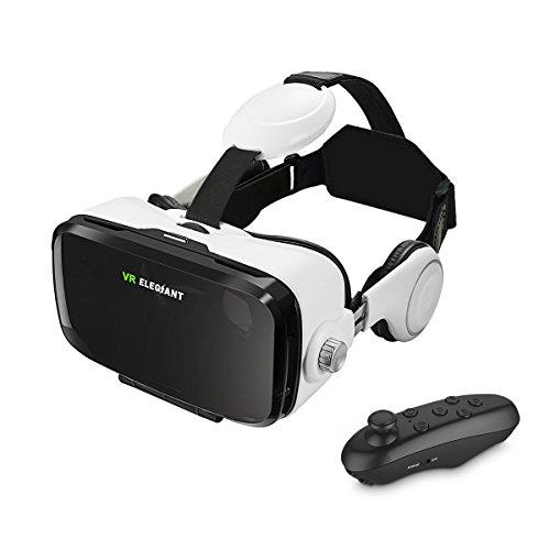 Casque VR, ELEGIANT Lunettes 3D VR Réalité Virtuelle Casque + Télécommande Compatible avec l'écran 4.0-6.0 pouces pour Films Jeux Vidéo Samsung Galaxy S8 S7 S6 iPhone 8 7 6 Smartephone Android Iphone