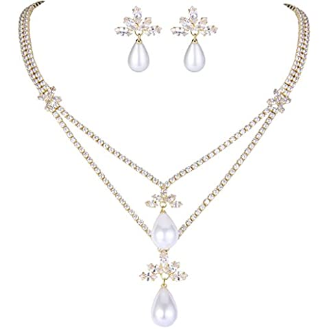 EleQueen Women's Crystal White Simulated Pearl Double Strand Teardrop Bridal Necklace Earrings Set Clear