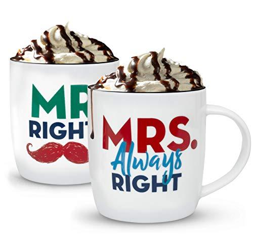 Gifffted tazze coppia da tè e caffe, mr e mrs always right, regali per le coppie, colazione, idee regalo san valentino per lui e lei, miss, anniversario e natale, set due tazzine da thè, mugs