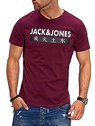 JACK & JONES Herren T-Shirt Kurzarmshirt Top Print Shirt Casual Basic O-Neck (X-Large, Port Royale)