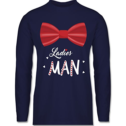 Shirtracer Valentinstag - Ladies Man - Herren Langarmshirt Navy Blau