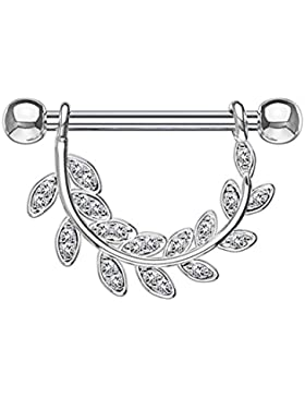 beyoutifulthings KRISTALL-BESETZTE BLÄTTER Brustwarzen-piercing Intim-piercing Brust-piercing Nippel-piercing...