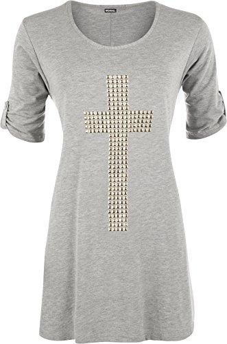 WearAll - Tunique évasée à manches courtes avec un croix clouté - Hauts - Femmes - Grandes tailles 42 à 56 Gris Clair