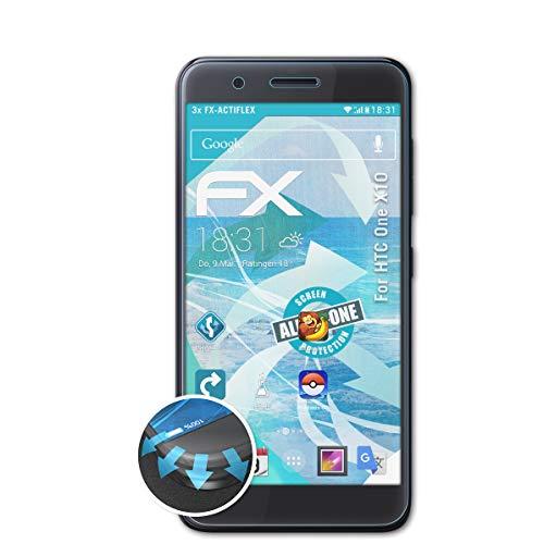 atFolix Schutzfolie passend für HTC One X10 Folie, ultraklare & Flexible FX Bildschirmschutzfolie (3X)