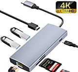 7-in-1 USB C Hub, USB C Adapter mit Ladeanschluss Typ C, HDMI-Anschluss, SD/TF-Kartenleser, für Typ C-Geräte wie MacBook, MacBook Pro, Samsung Chromebook Plus, von ieleacc, Silber