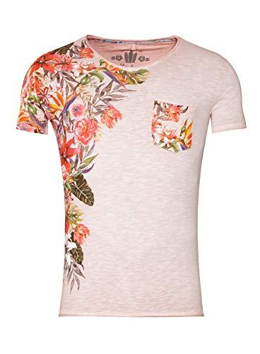 Key Largo Herren T-Shirt Babylon V-Neck, Sommer-Shirt mit Flower-Print und Brusttasche (L, Dusty-Pink)