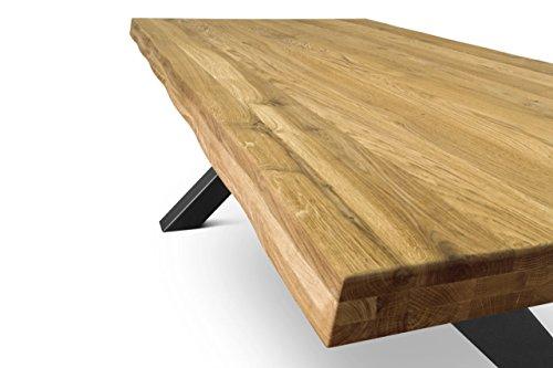 COMIFORT Mesa de Comedor Moderna, Roble Macizo Salvaje, Varios Tamaños,  140-220 cm