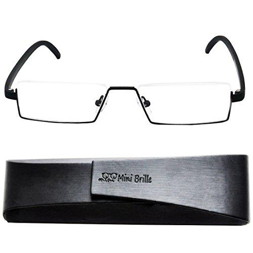 Flex Brille – Leichte & Flexible Halbbrille Lesebrille | Edelstahl Rahmen (Schwarz) | GRATIS Etui mit Magnetverschluss | Lesehilfe für Damen und Herren von Mini Brille | +2.5 Dioptrien