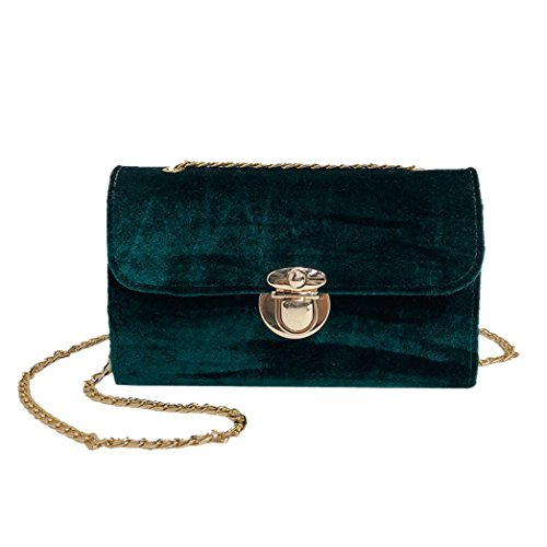 Longra Borsa a tracolla per borse a tracolla in velluto oro donna moda colore solido Verde