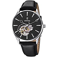 Festina, Reloj automático para hombre, con pantalla analógica, correa de piel negra y esfera negra F6846/4