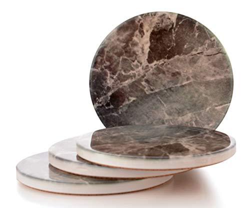 Giftale Dekorative Keramikuntersetzer für Getränke, Marmor-Stil, Steingut, mit Korkrückseite, 9 cm, 4 Stück -