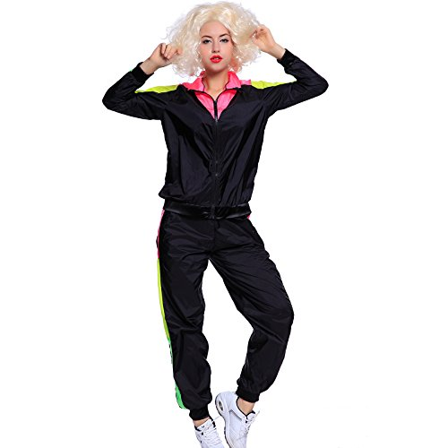 80er Trainingsanzug Jogging Anzug Fitness Sport Hose Jacke Sportanzug Assianzug Fancy Dress Halloween Kostuem (L, Motiv-Damen)