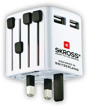 Preisvergleich Produktbild Skross World Travel Adapter 2 & Dualer USB-Ladegerät. Designed & entwickelt in der Schweiz. Verbinden Sie sich mit der Welt, in über 150 Ländern