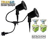 Trango 2-flammig LED Gartenstrahler Gartenleuchte Teichleuchte TG3074B Alu-Druckguss IP65 mit GU10 Fassung inklusive 2x 3.0 Watt GU10 LED Leuchtmittel