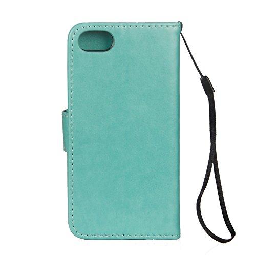 Cover iPhone 5 5s SE, Sportfun Custodia Portafoglio In Pelle Con Wallet Case Cover Per iPhone 5 5s SE con Porta Carte e Funzione Stand (03) 06