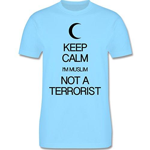 Keep calm - Keep calm I'm Muslim not a terrorist - Herren Premium T-Shirt Hellblau