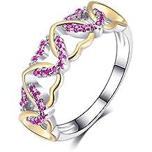 e5f87bc6cbcc JewelryPop Popular Bicolor Anillo Hembra Creativo Coloreado con  Incrustaciones de circón Herida Forma de corazón Anillo