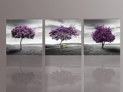 Nuolan Art - Canvas Print 3 Panels PURPLE TREES Modern Landscape Framed Canvas Wall Art -UK-P3L3030-003 - cheap UK canvas shop.