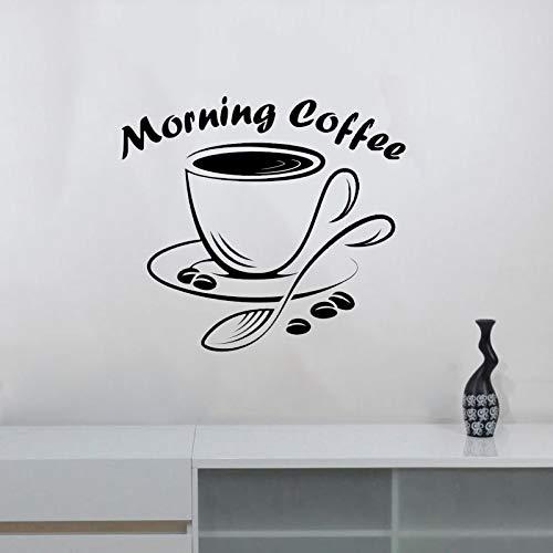 Zitate Morning Coffee Wall Decal Vinyl Restaurant Coffee Bar House Shop Küche Esszimmer Dekor Modernes Logo Fenster Sign 48x42cm