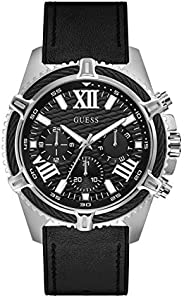 GUESS Mens Quartz Watch, Analog Display and Leather Strap GW0053G1