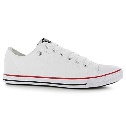 Dunlop pour homme toile Lo Profil Pompes à lacets Décontractée Chaussures léger Blanc - blanc
