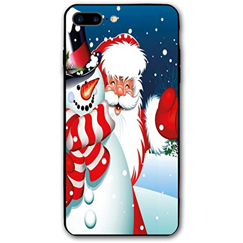 ZZHOO Compatible with iPhone 7/8 Plus Case, Smiling Santa Claus Hugging Snowman In Cartoon Style Winter Hills Fir Trees,Anti-Scratch Shock Absorption Protective Cover