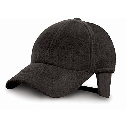 Gorra polar con orejeras POLARTHERMTM - Ideal para Invierno, Montaña, Nieve, Trabajo, Industria, Pescar, Deportes - Hombre/Mujer (Unisex) (Negro)