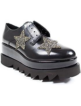 Cult 103227 scarpa donna senza stringhe in pelle nera con stelle doppia suola