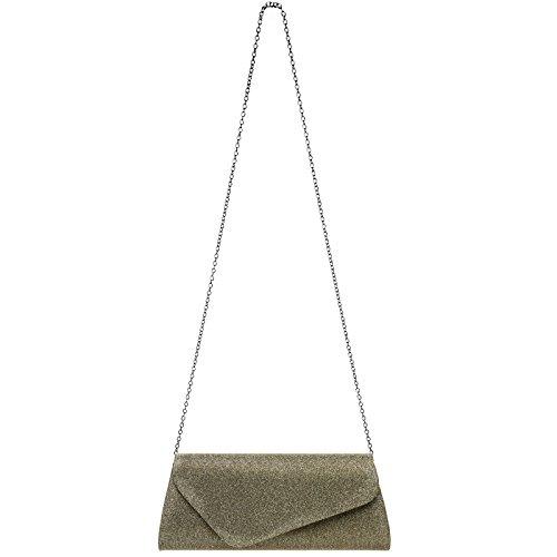 mit langer Tasche Stoff Baguette Damen TA394 Bronze Abendtasche elegante Glitzer Clutch CASPAR Kette vwg6zqB