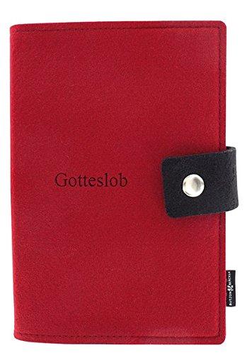 Gotteslob-Buchhülle: Großdruck Filz rot mit Knopfverschluss (Religionen Kostüme)