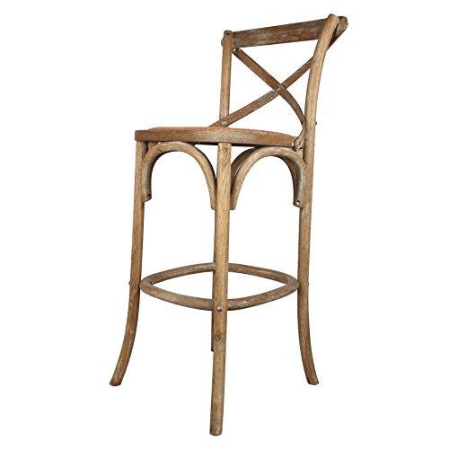 Decoración Vintage Nimes - Taburete alto de madera roble envejecido con asiento de ratán, 52 x 52 x 77/113 cm