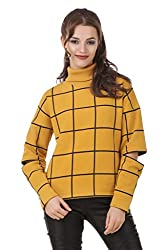 Texco Plaid mustard Check turtle neck full sleeve with cut out zipperer detailing winter sweat shirt