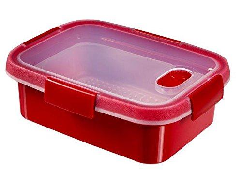 CURVER 232581 Smart Micro-Ondes rect 1L Vapeur Plastique, Rouge, 21 x 16 x 7 cm