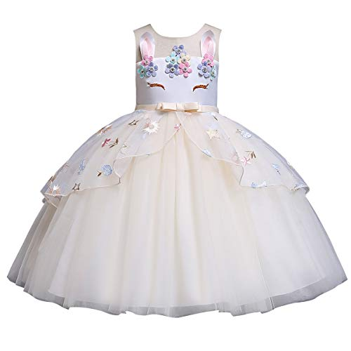 IWEMEK Mädchen Einhorn Kleid Karneval Halloween Kostüm Cosplay Fancy Dress up Kinder Tüll Tutu Prinzessin Kleid Geburtstag Party Festzug Ankleiden Faschingskostüm Champagner 7-8 Jahre