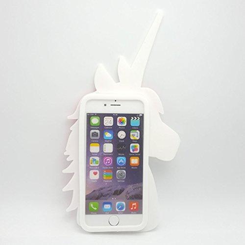 ehenz® TM Unicorn 3d case cover for iPad 2,3,4iPhone 7,7+, 6,6+, 5... arcobaleno Cute iPhone 7+ bianco