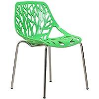 SUN HUIJIE Silla de Comedor de plástico Silla con Respaldo Hueco Silla de café Silla de Acero al Aire Libre Silla de plástico (Color : Green)