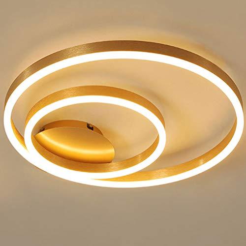 LED Deckenleuchte Dimmbar Fernbedienung Deckenlampe Gold Schlafzimmerlampe Modern Design Ring Pendelleuchte 2-flammig Aluminium Acryl Esstischleuchte 50cm 36W Deko Lampe für Flur Büro Arbeitszimmer