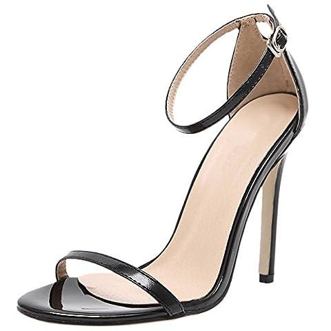 HooH Femmes Sandales Stiletto Peep Toe Sexy Ankle Strap Escarpins