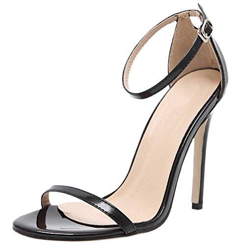 HooH Femmes Sandales Stiletto Peep Toe Sexy Ankle Strap Escarpins Noir