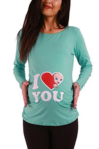 Daisy Langarm-shirt (I Love You - Lustige Witzige Süße Umstandsmode/Sweatshirt Umstandsshirt mit Motiv für Die Schwangerschaft/Schwangerschaftsshirt, Langarm (Mint, Medium))