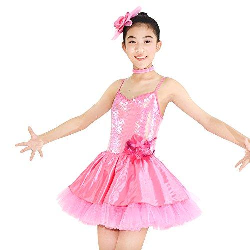 MiDee Mädchen Hemdchen, Oder So was Pailletten Ballett Tanz Kostüme Paso Doble Party-Kleid (Rosa, ()