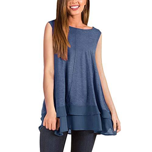 n Minikleid Solide Ärmelloses Festes Sommerstrand Eine Linie Beiläufiges Kleid Freizeit Spitzenkleid Für Damen(Blau,EU-36/CN-M) ()