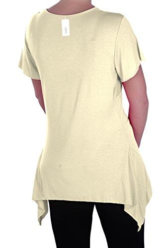 EyeCatch Plus - Haut manches courtes asymétrique stretch - Solange - Femme - Plusieurs Tailles et Couleurs Crème