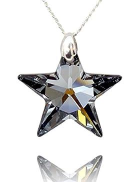 Crystals & Stones *TOP* *STERN* 28 mm *Silver Night* mit Silberkette aus 925 Silber mit original Swarovski® Elements...