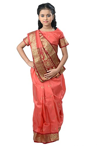 Pratima Girl's Ethnic Party Wear Coral Pink with Maroon contrast Satin Ready...