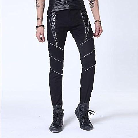 ZYQYJGF Casual Multi-Wearing Patchwork Hip-Hop De Pantalón Danza Jogger Pantalón Rasgado Recto Cremallera Jeans Agujeros Hombres Flacos Pantalones . Black . 33