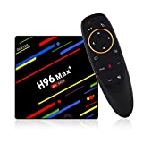 H96 max Plus, Android 9.0 OS TV box, 4 GB RAM 64 GB ROM, RK3328 Quad Core CPU, Dual WiFi/LAN/Bluetooth + telecomando vocale 4G 64G