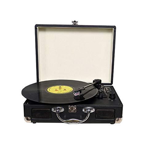 Giradischi vinili Vintage | Giradischi Vinile Bluetooth valigetta | Portatile | 3 Velocità (33/45/78 RPM) con due Altoparlanti | Convertitore da Vinile a MP3 | RCA/Jack per Cuffie/ USB/SD |