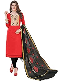 Women'S Red Semi Stitched Embroidered Banglori Cotton Dress Material
